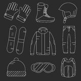 Vector linear snowboard equipment icons set. Royalty Free Stock Images