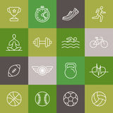 Vector linear sport and fitness icons and signs Stock Photography