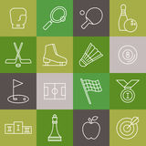 Vector linear sport icons set Royalty Free Stock Photography