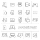 Vector linear tablet icons set with hand gestures and pictograms Royalty Free Stock Photo