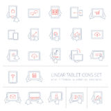Vector linear tablet icons set with hand gestures and pictograms Stock Image