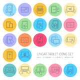 Vector linear tablet icons set with hand gestures and pictograms Royalty Free Stock Image