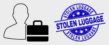 Vector Contour User Case Icon and Grunge Stolen Luggage Watermark. Vector linear user case pictogram and Stolen Luggage seal stamp. Blue rounded distress seal vector illustration