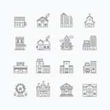Vector linear web icons set - buildings collection of flat line Royalty Free Stock Images