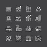 Vector linear web icons set - buildings collection of flat line vector illustration