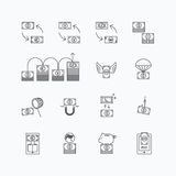 Vector linear web icons set - business money currency bill conce Royalty Free Stock Photography
