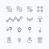 Vector linear web icons set - business money currency coin conce Stock Photo
