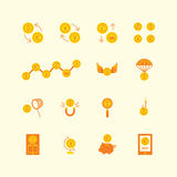 Vector linear web icons set - business money currency coin conce Royalty Free Stock Images