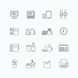 Vector linear web icons set - business office tools collection Royalty Free Stock Photos