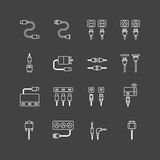 Vector linear web icons set - cable wire computer Royalty Free Stock Images