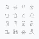 Vector linear web icons set - man clothing store collection Royalty Free Stock Image