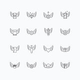 Vector linear web icons set - wing concept collection of flat li Stock Images