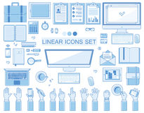 Vector linear workplace icons collection, flat Stock Photography