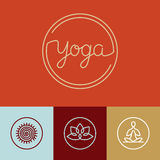 Vector linear yoga logo Royalty Free Stock Photo