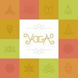 Vector linear yoga logo Royalty Free Stock Photos
