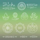 Vector lineare Ökologie und organische Ausweise und Logos Lizenzfreie Stockfotos