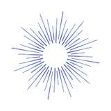 Vector lineare Zeichnung von Strahlen der Sonne, oder Sonne barst durch Tinte Lizenzfreie Stockbilder