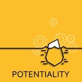 Vector lineares verstecktes Potenzial und Gelegenheit der Geschäftsillustration als Eisberg Stockfoto
