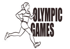 Vector lineart athletic woman run with signature Olympic games. For label, logo, other design.  eps 10 Stock Photos