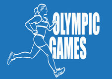 Vector lineart athletic woman run with signature Olympic games. Stock Images