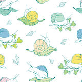 Vector lineart snails on leaves seamless pattern Royalty Free Stock Image