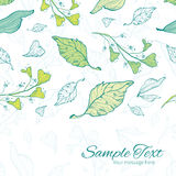 Vector lineart spring leaves horizontal border Royalty Free Stock Photos