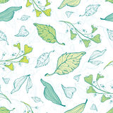 Vector lineart spring leaves seamless pattern Stock Photo