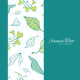 Vector Lineart Spring Leaves Vertical Frame Royalty Free Stock Images