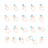 Vector lineart touchscreen hand gestures set Stock Photo