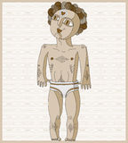 Vector lined illustration of nude man, Adam concept. Hand drawn Royalty Free Stock Photos