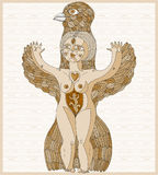 Vector lined illustration of weird creature, nude woman with win Royalty Free Stock Images
