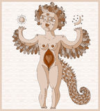 Vector lined illustration of weird creature, nude woman with win Stock Photo