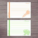 Vector lined recipe card with vegetables on wooden background.  Carrot, broccoli Stock Image