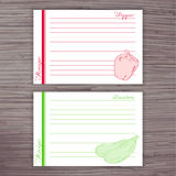 Vector lined recipe card with vegetables on wooden background. Pepper, zucchini Stock Photo