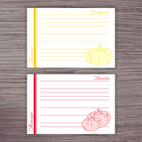 Vector lined recipe card with vegetables on wooden background. Pumpkin, tomato Royalty Free Stock Images