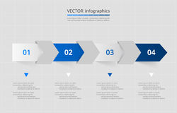 Vector lines arrows infographic. Dark blue template for diagram, graph, presentation and chart. Business concept with 4 options, parts, steps or processes Stock Image