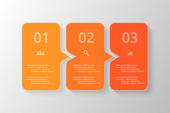 Vector lines arrows infographic. Orange template for diagram, graph, presentation and chart. Business concept with 3 options, parts, steps or processes Stock Photography
