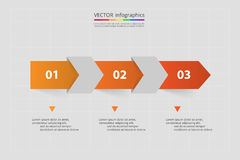 Vector lines arrows infographic. Orange template for diagram, graph, presentation and chart. Business concept with 3 options, parts, steps or processes Stock Image