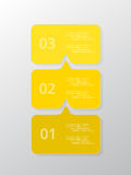 Vector lines arrows infographic. Yellow template for diagram, graph, presentation and chart. Business concept with 3 options, parts, steps or processes Royalty Free Stock Image