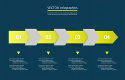 Vector lines arrows infographic. Yellow template for diagram, graph, presentation and chart. Business concept with 4 options, parts, steps or processes on dark Royalty Free Stock Photos