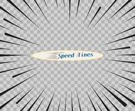 Vector lines of different variants of simple horizontal. Speed, motion, black color. Manga cartoon design for comic books. royalty free illustration