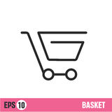 Vector Lines icon basket shop Royalty Free Stock Images