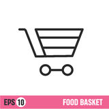 Vector Lines icon basket shop Stock Photo