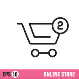 Vector Lines icon basket shop Stock Images