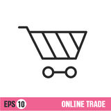 Vector Lines icon basket shop Stock Image