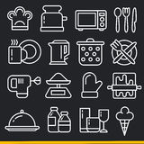 Vector lines icons pack collection kitchen Royalty Free Stock Photos
