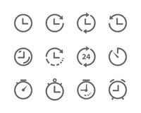 Vector lines icons time and clock set grey on white background stock illustration