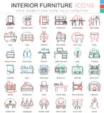 Vector a linha de cor interior ícones da mobília do esboço para apps e design web Ícones interiores da mobília Fotografia de Stock Royalty Free