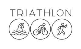 Vector a linha e logotipo e símbolo lisos do triathlon Fotografia de Stock