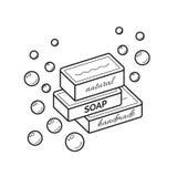 Vector a linha fina ícone de sabão feito a mão orgânico natural ilustração stock